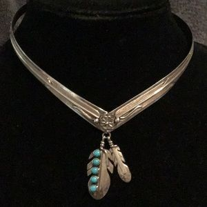 Jewelry - STERL. SILVER OLDER NATIVE AMERICAN FEATHER COLLAR